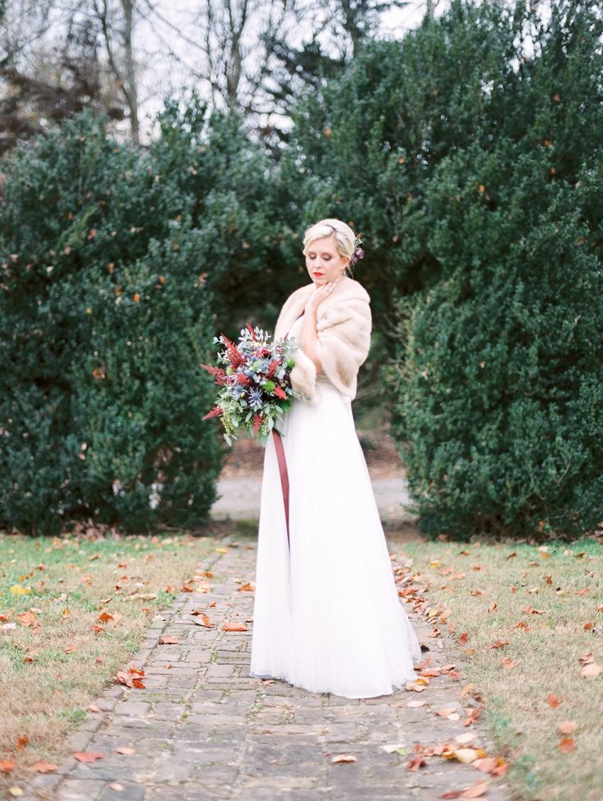 Winter Bride in a Fur Jacket