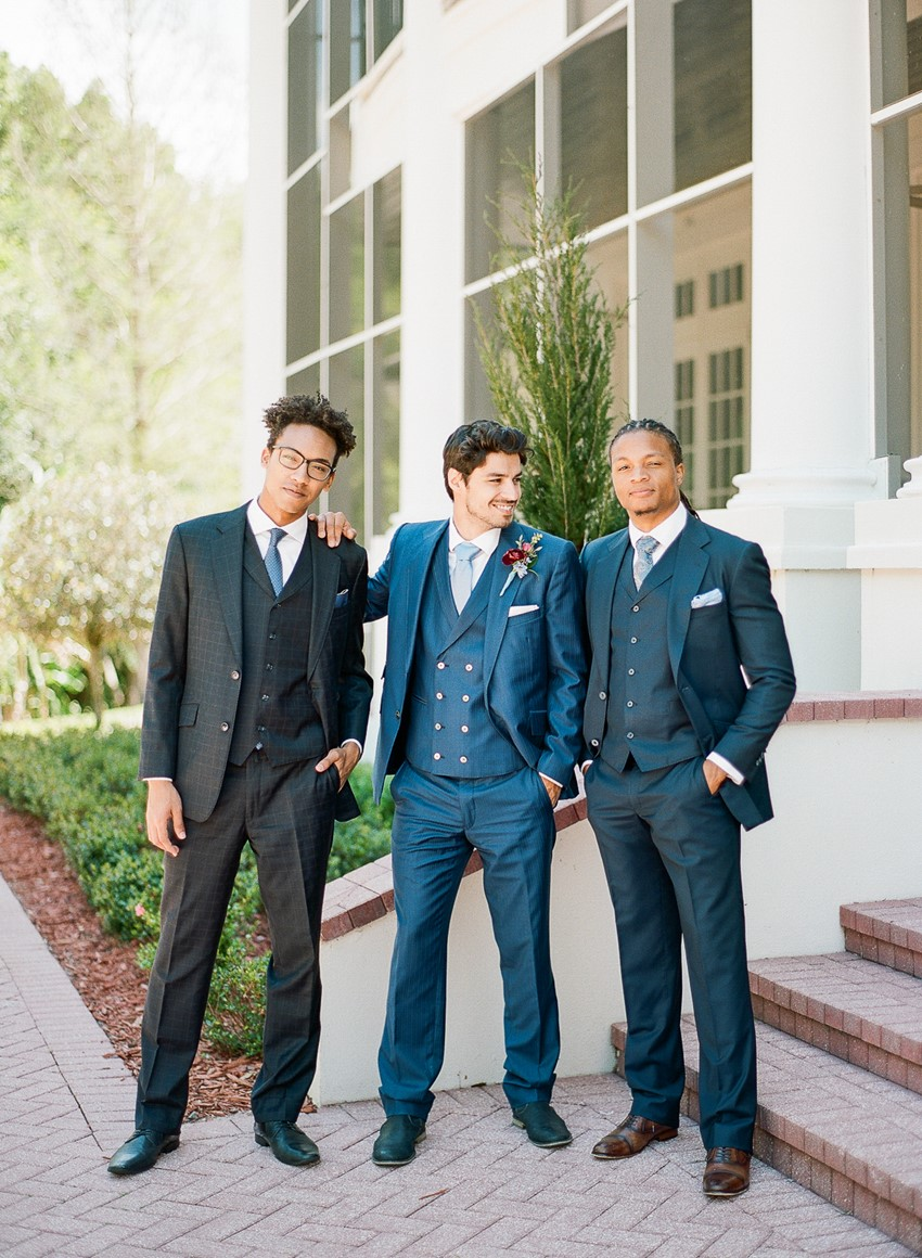 Dapper Groom & Groomsmen in Blue 3 Piece Suits