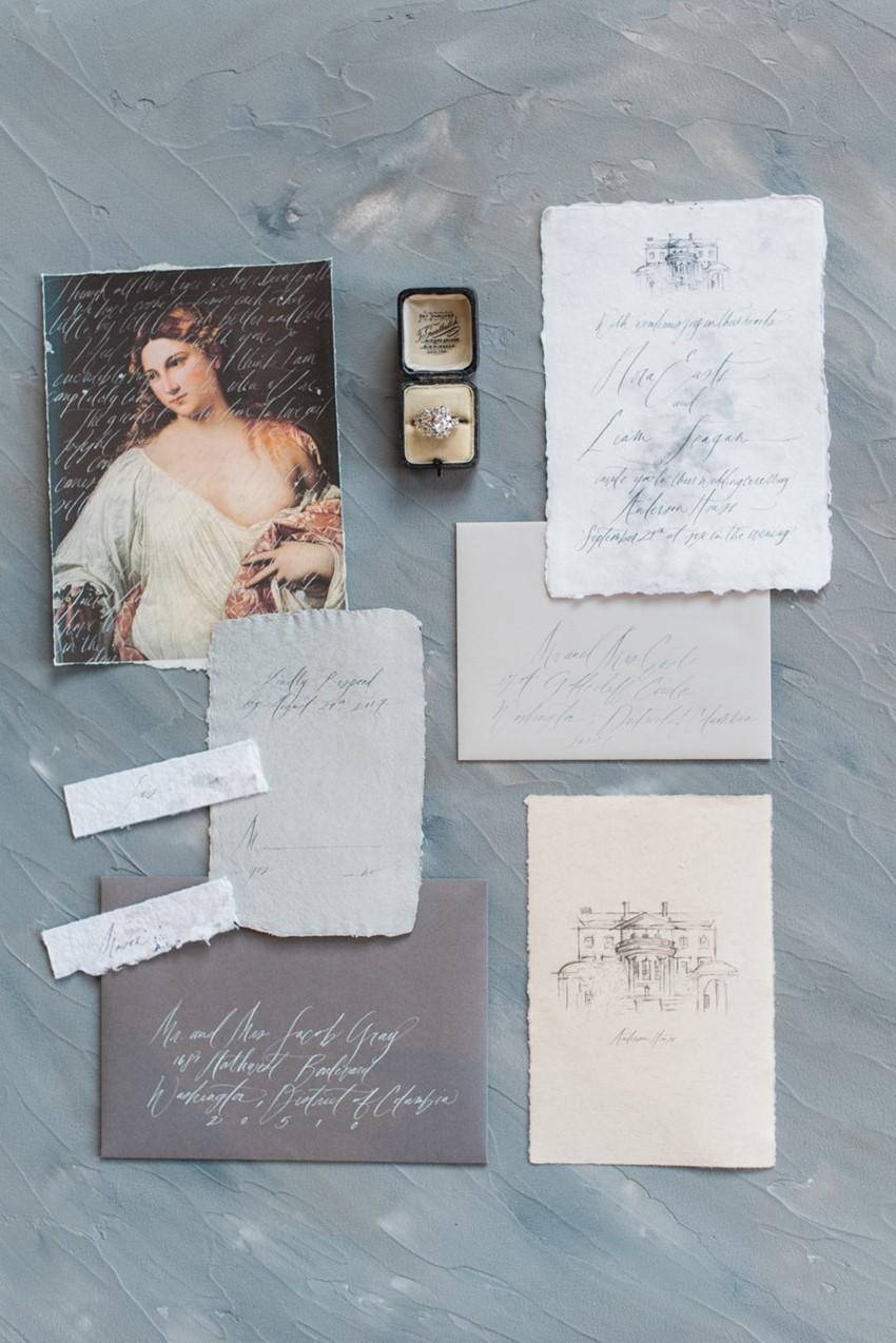 Dusky Blue Vintage Wedding Invitation Suite