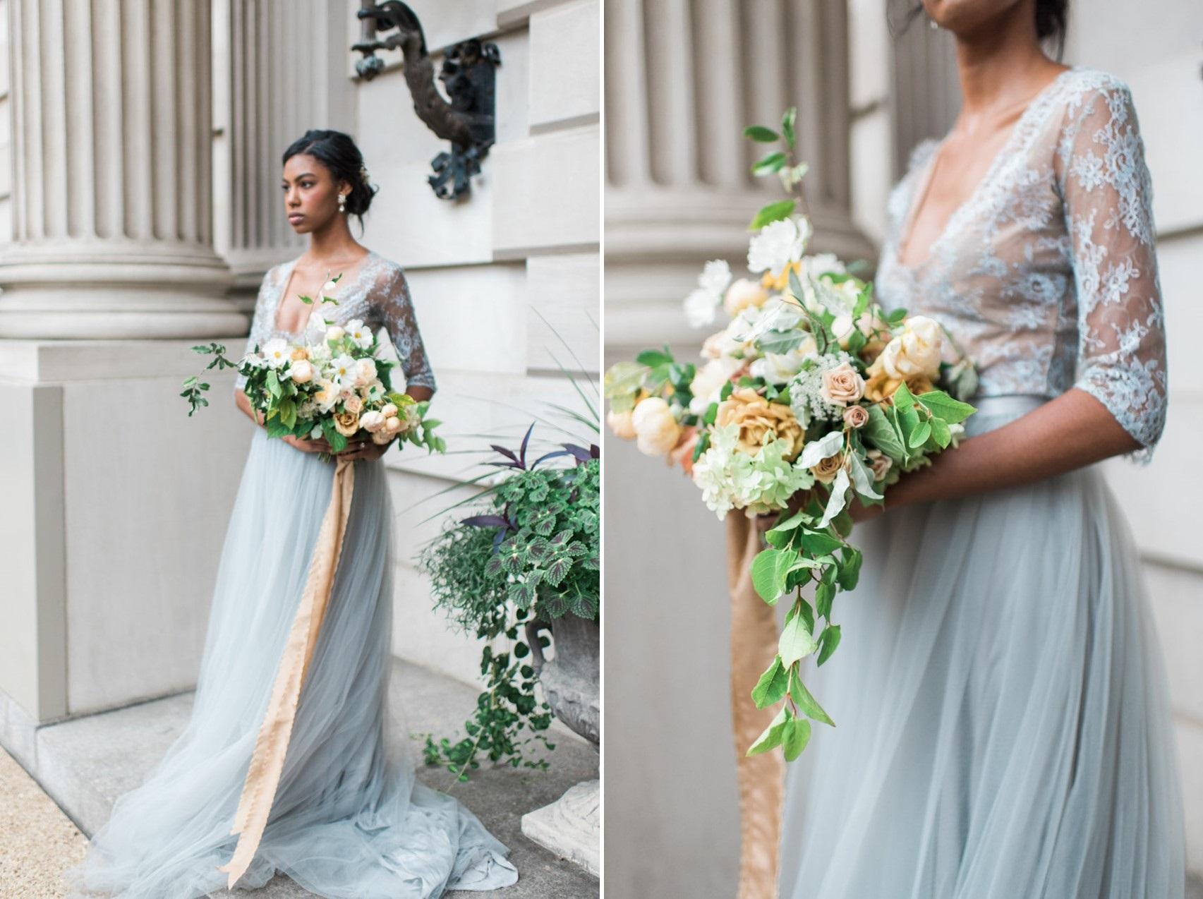 Dusky Blue Wedding Dress