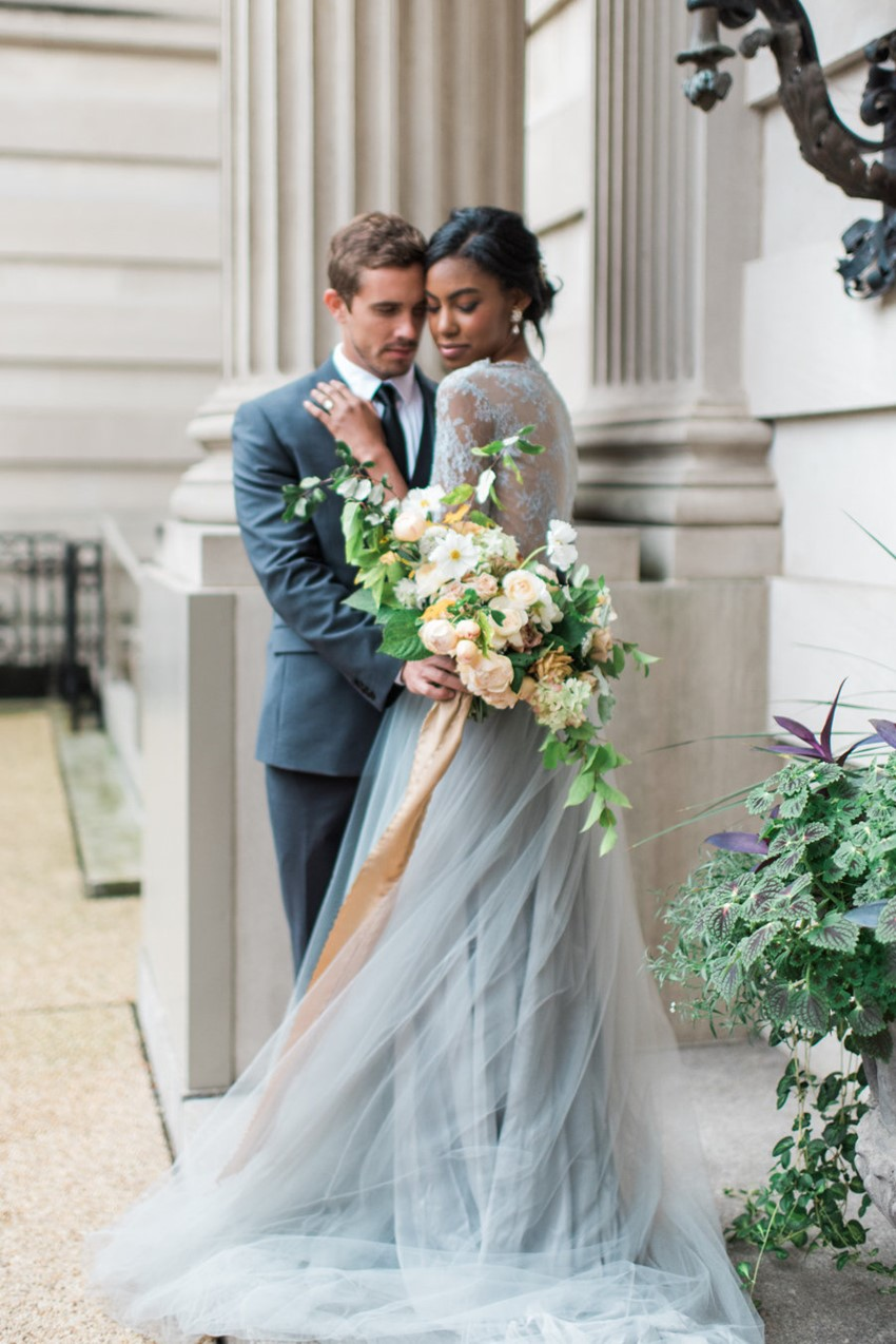 Blue Lace Long Sleeve Wedding Dress