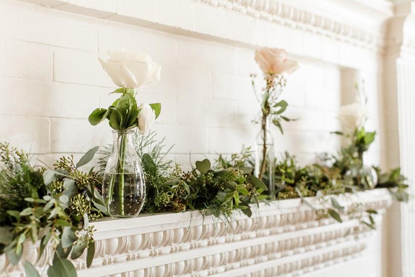 Fireplace Wedding Flowers