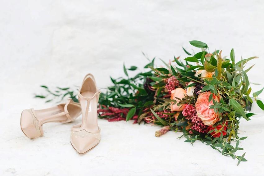 Blush Bridal Shoes & Cascading Bridal Bouquet
