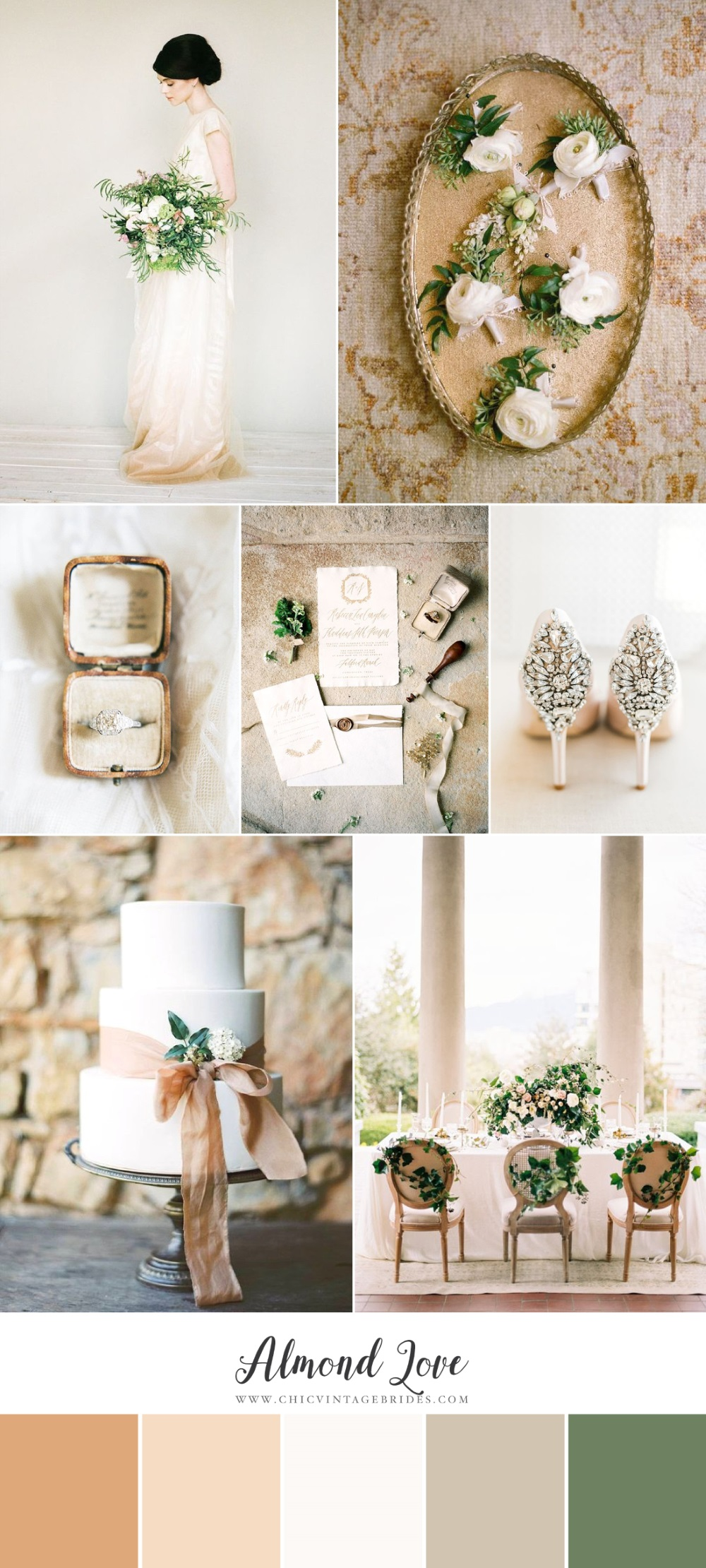 Almond Love - Neutral & Greenery Wedding Inspiration Board