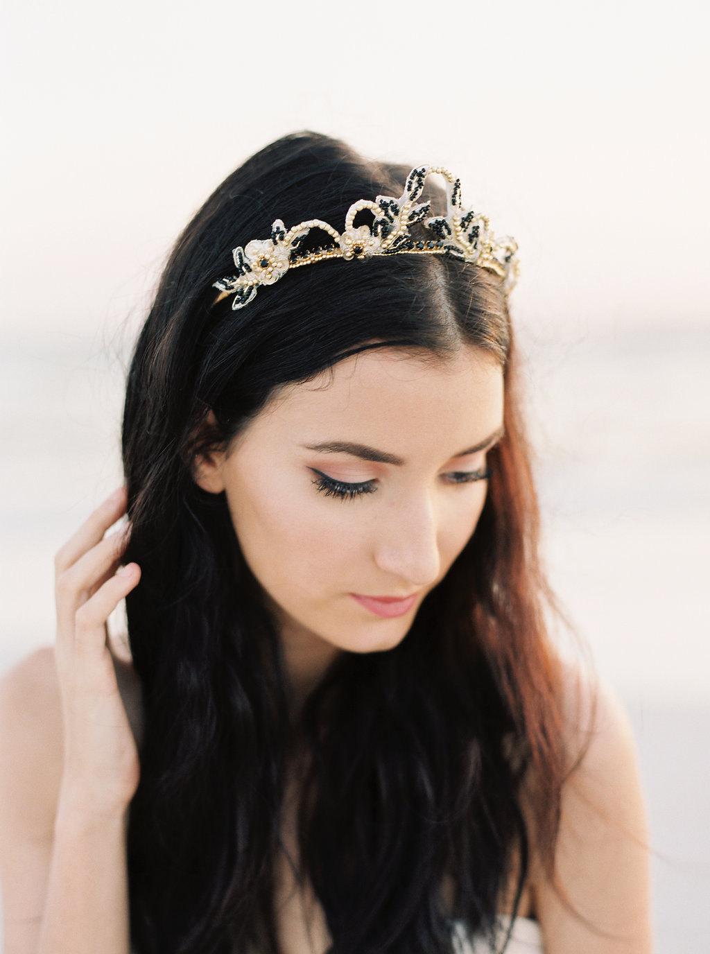 Freya Black Gold Bridal Tiara