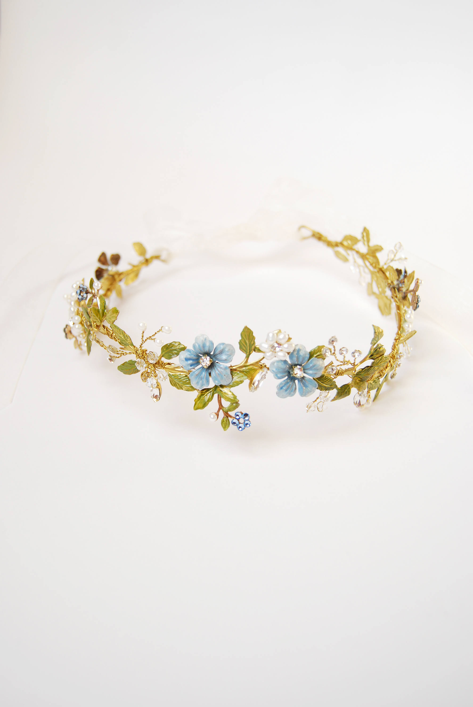 Blue Flower Bridal Crown
