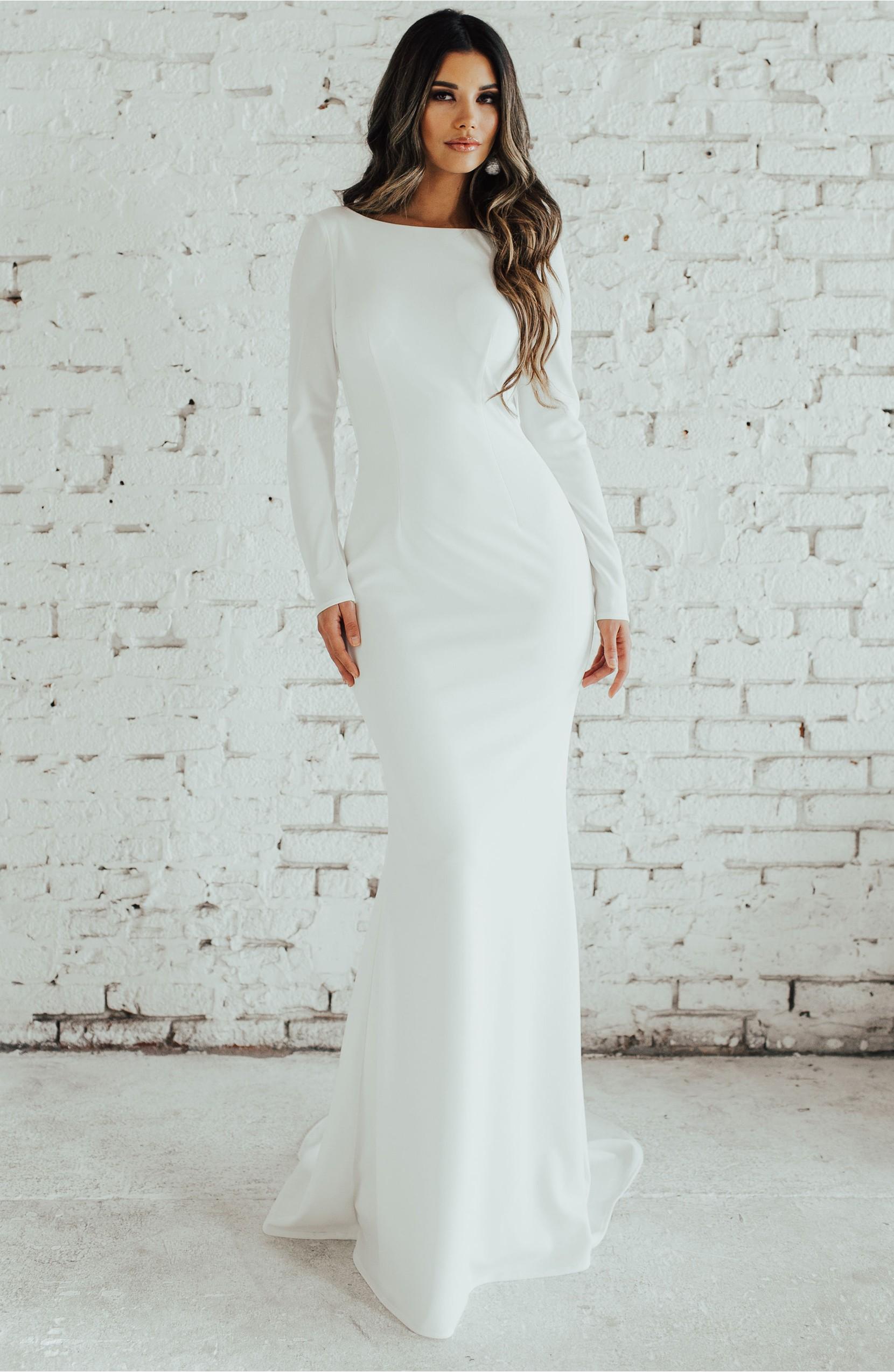 Cowl Back Wedding Dress