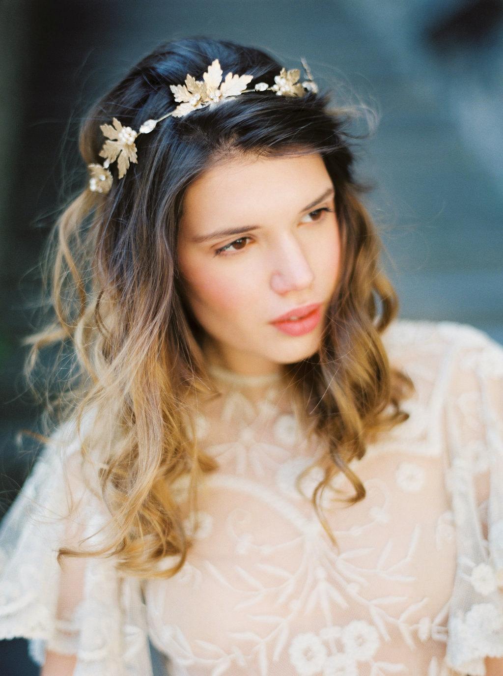 Golden Maple Leaf Bridal Crown