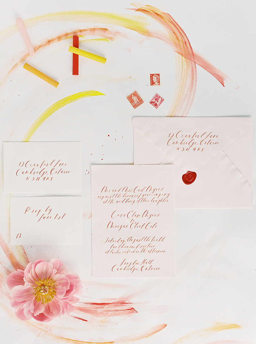Red Calligraphy Wedding Invitation Suite