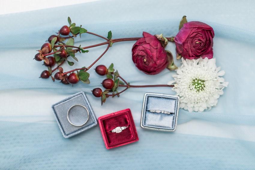 Wedding Rings in Vintage Velvet Boxes