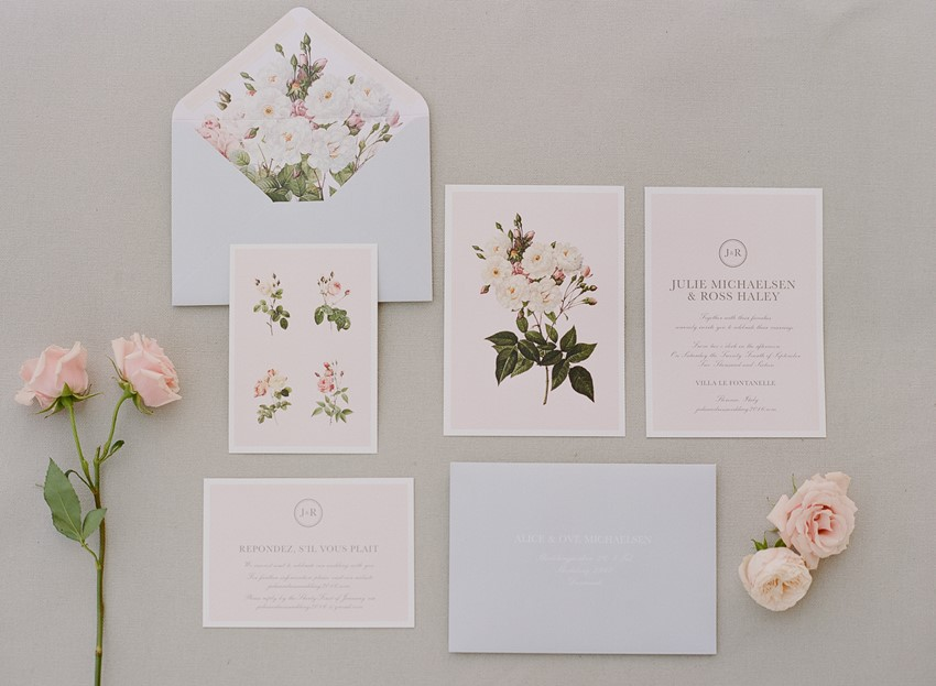 English Floral Wedding Invitation Suite