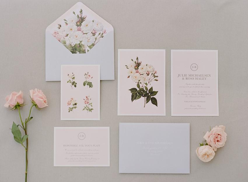 English Floral Wedding Invitation Suite
