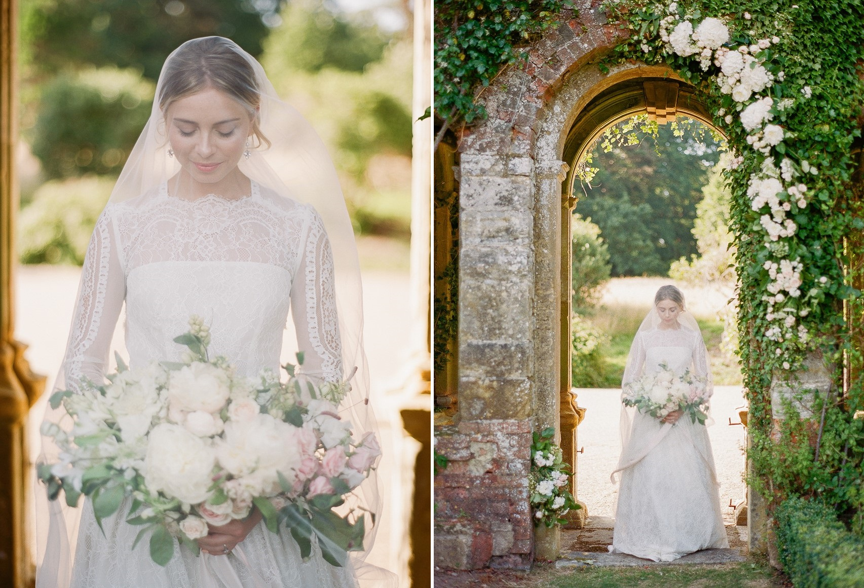Bride in a Veil & Long Sleeve Wedding Dress