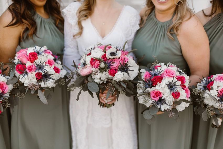 Pink & White Bride & Bridesmaids Bouquets