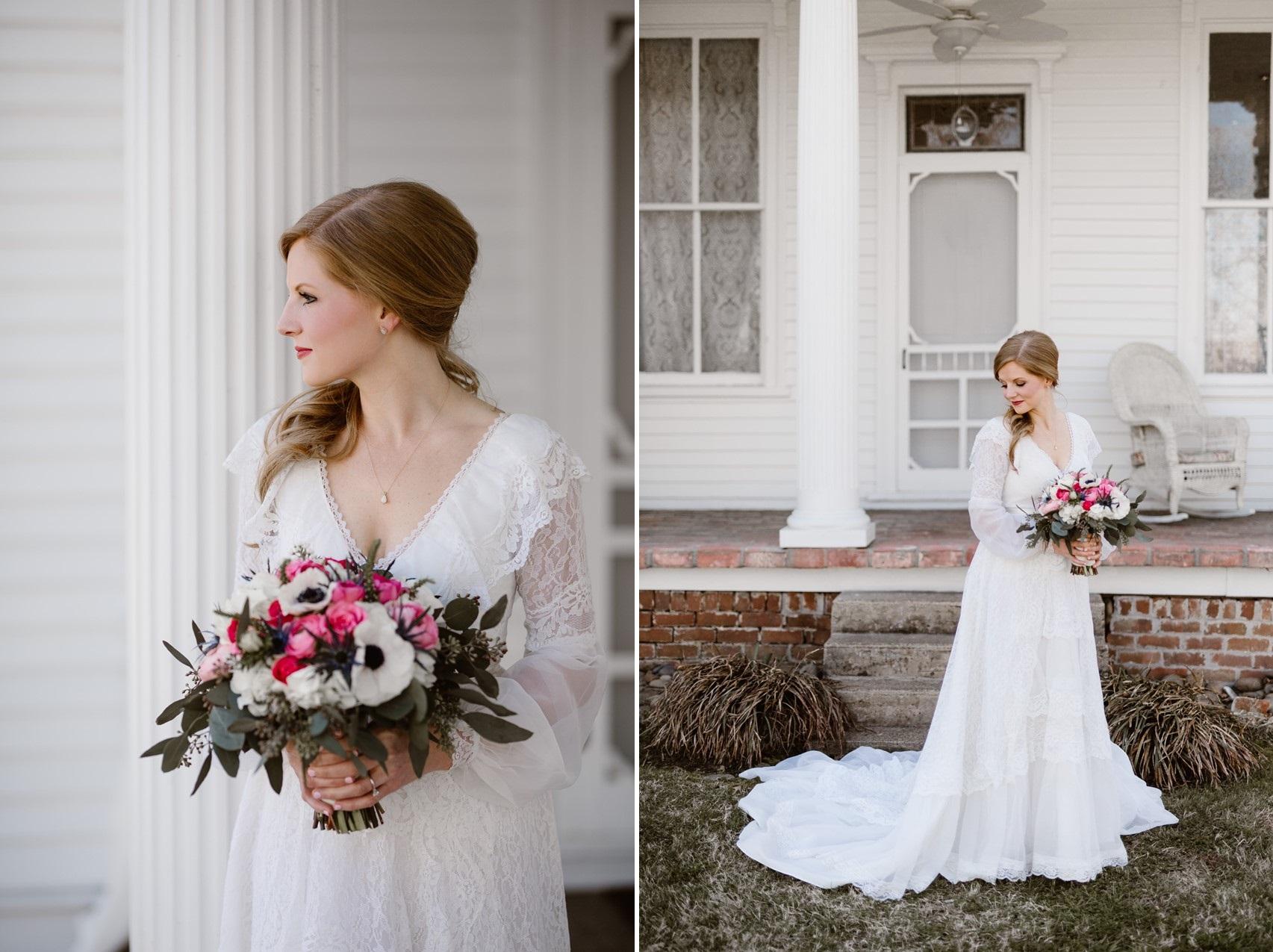 Bride in Long Sleeve Vintage Wedding Dress