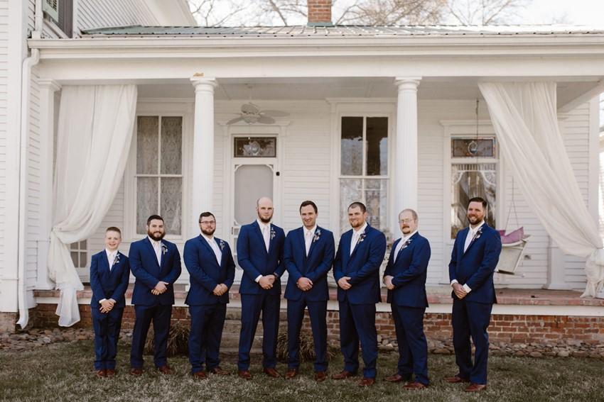 Groom & Groomsmen in Blue Suits