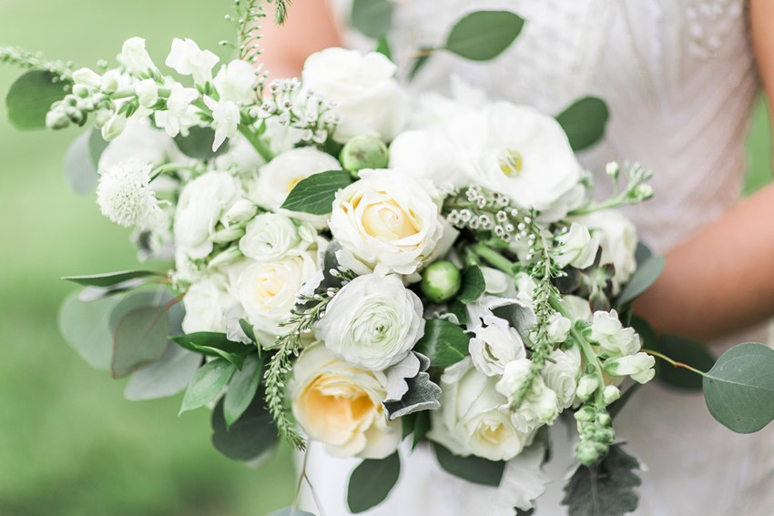 White & Greenery Bridal Bouquet
