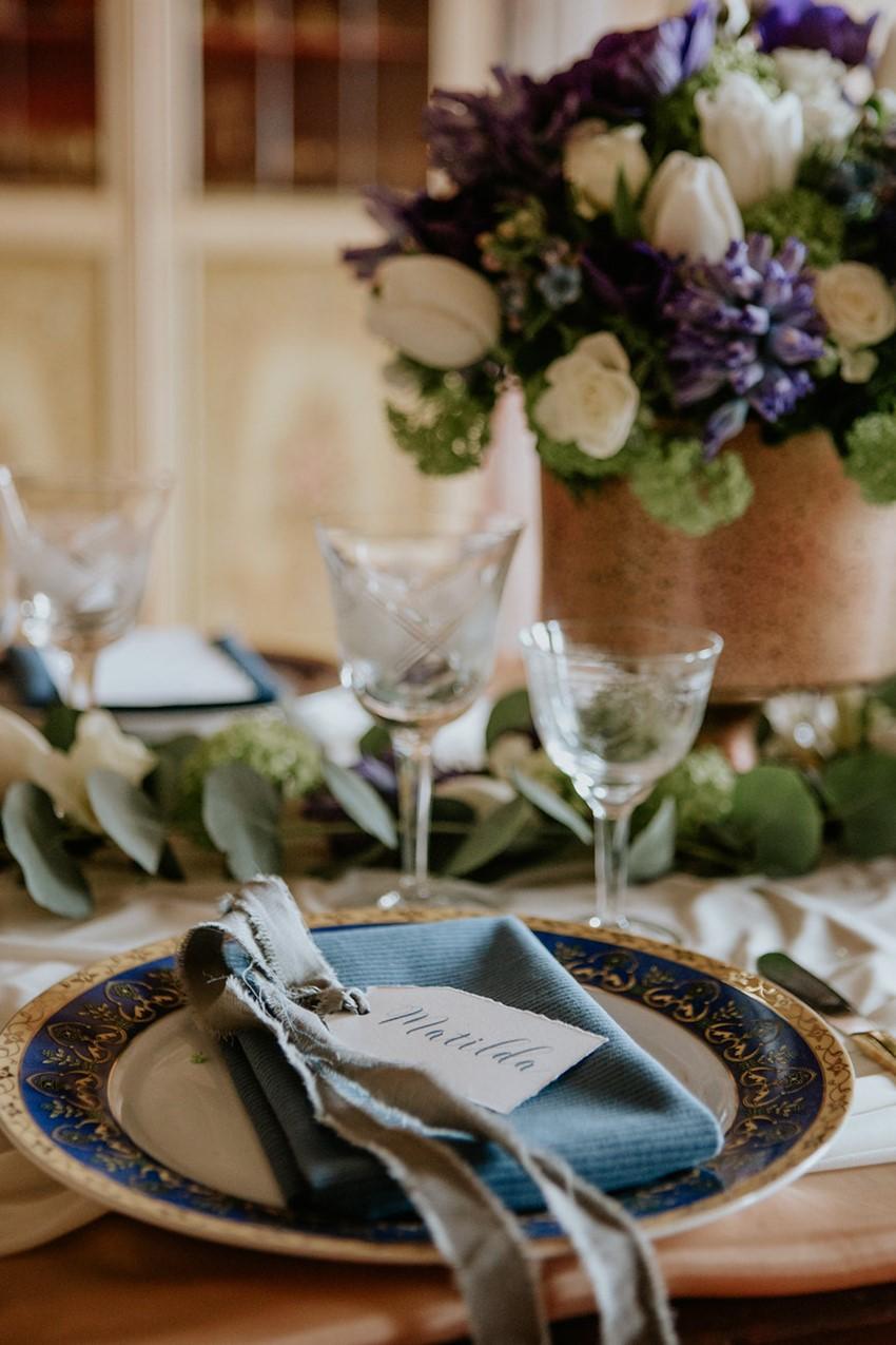 Blue Regal Wedding Place Setting
