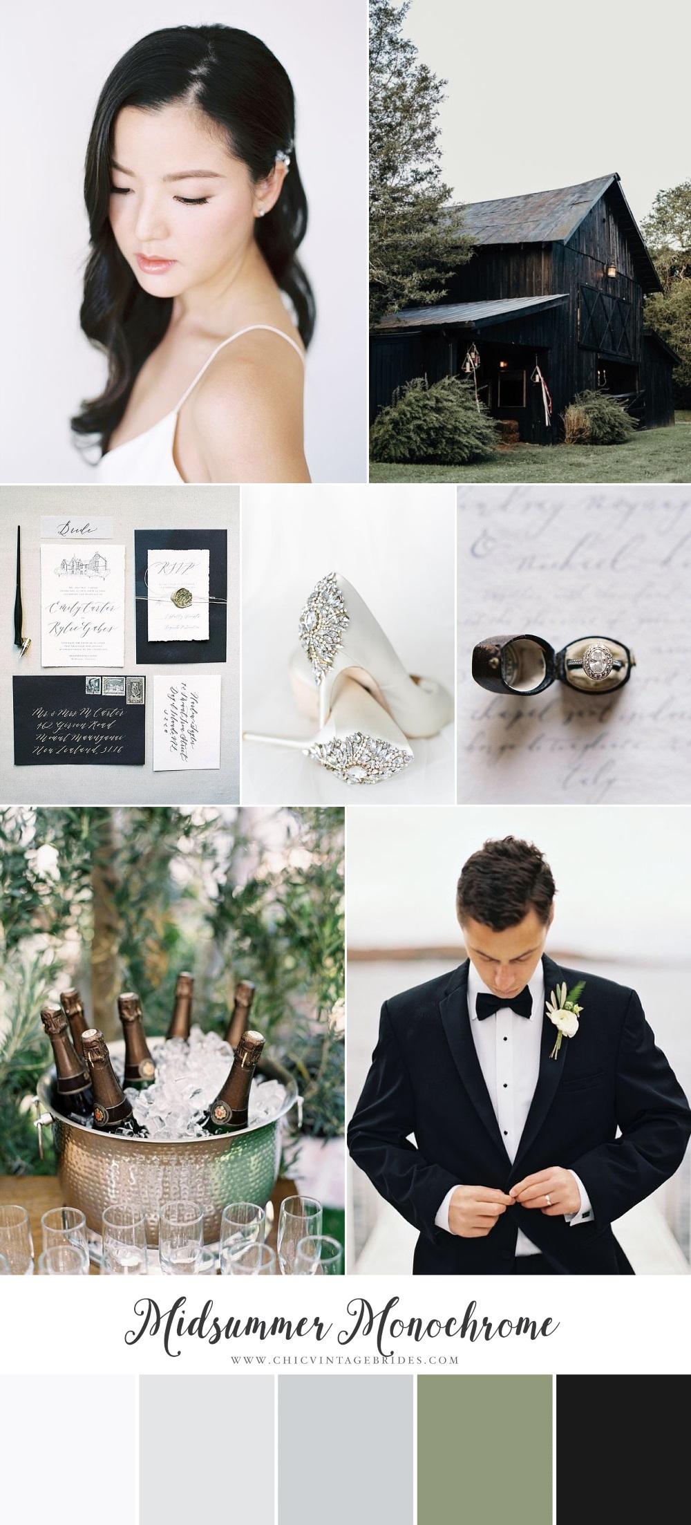 Midsummer Monochrome Wedding Inspiration Boar