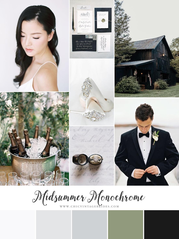 Midsummer Monochrome Wedding Inspiration Board