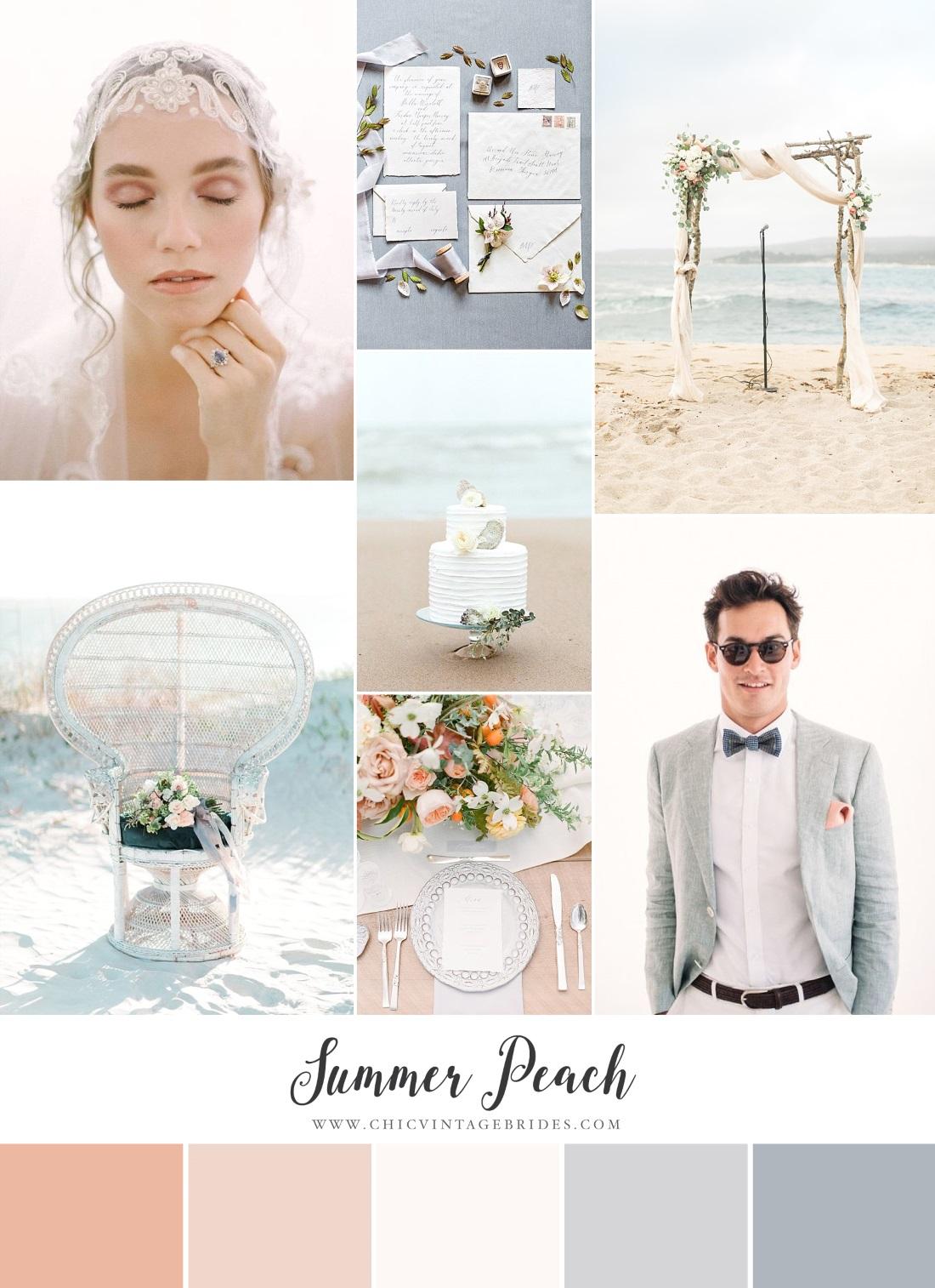 Romantic Peach & Blue Beach Wedding Inspiration Board