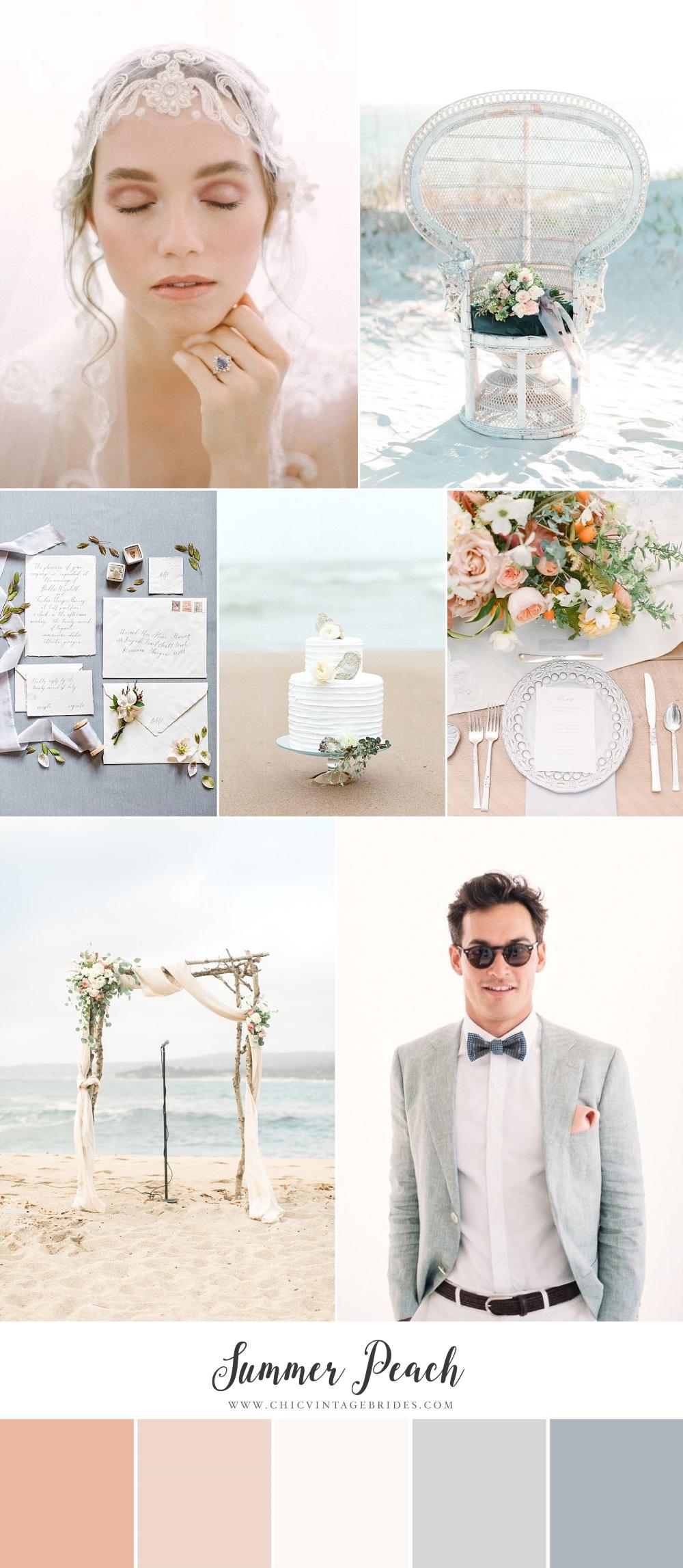 Summer Peach Beach Wedding Inspiration Board