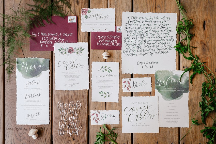 Floral Watercolor Calligraphy Wedding Invitation