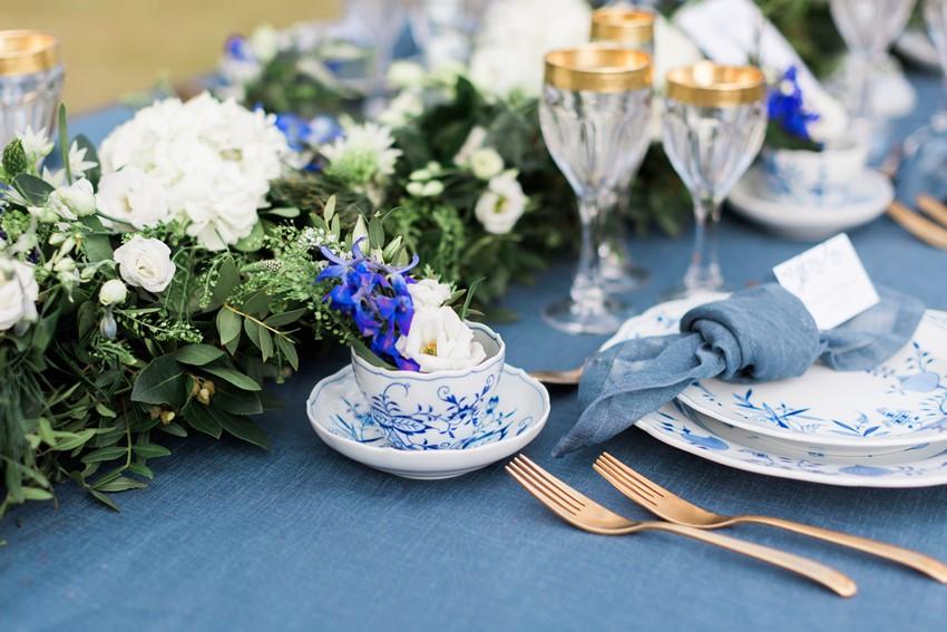 Blue Wedding Table Decor