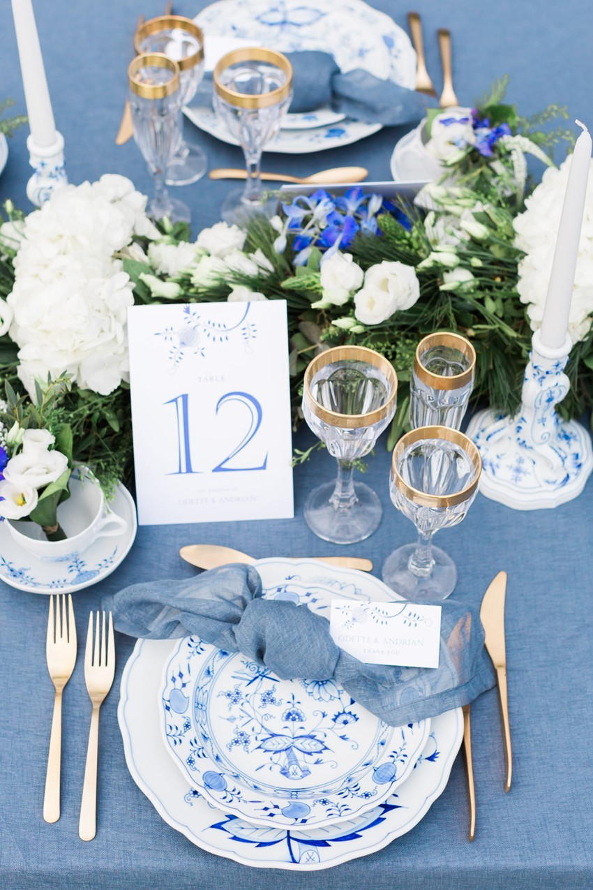 Blue China Wedding Place Setting