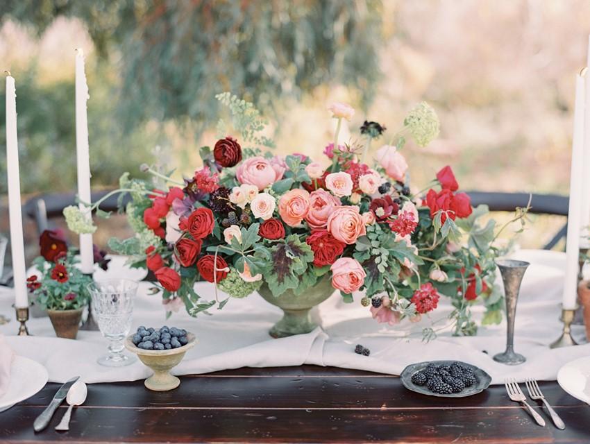 Red Floral Wedding Centerpiece