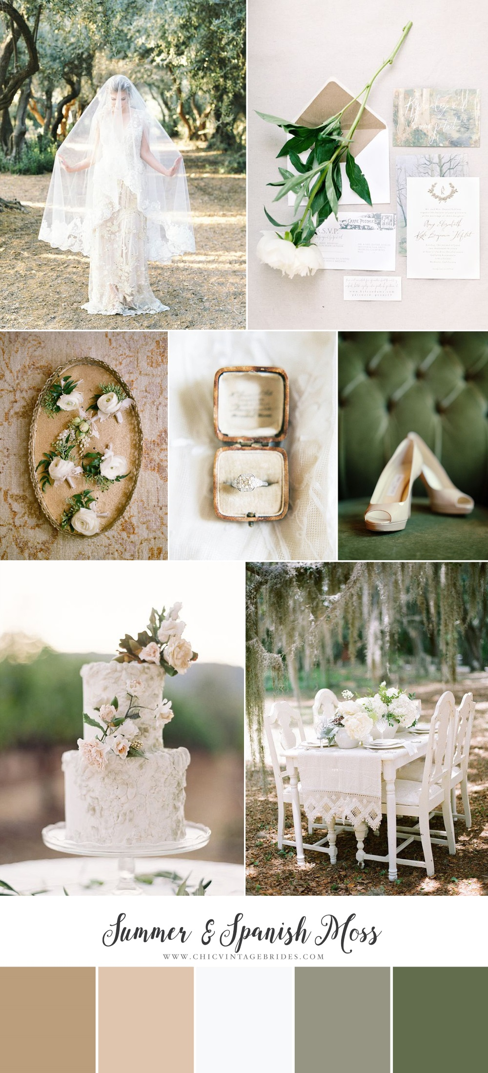 Spanish Moss Wedding Inspiration Board
