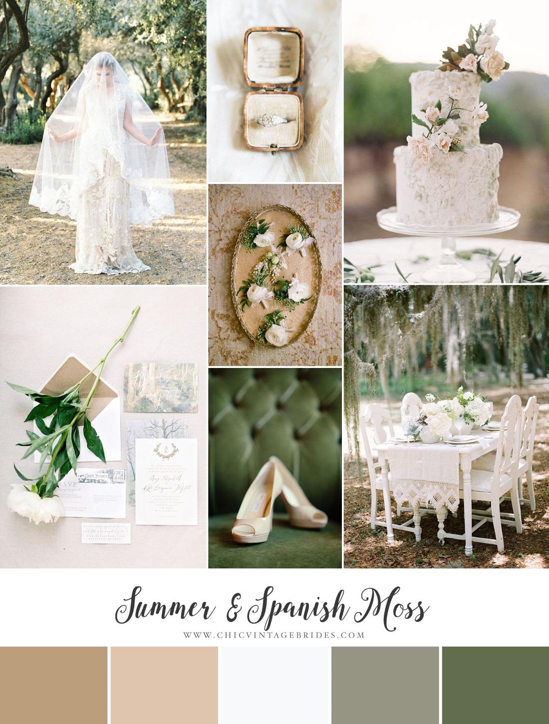 Spanish Moss Summer Wedding Inspiration Board