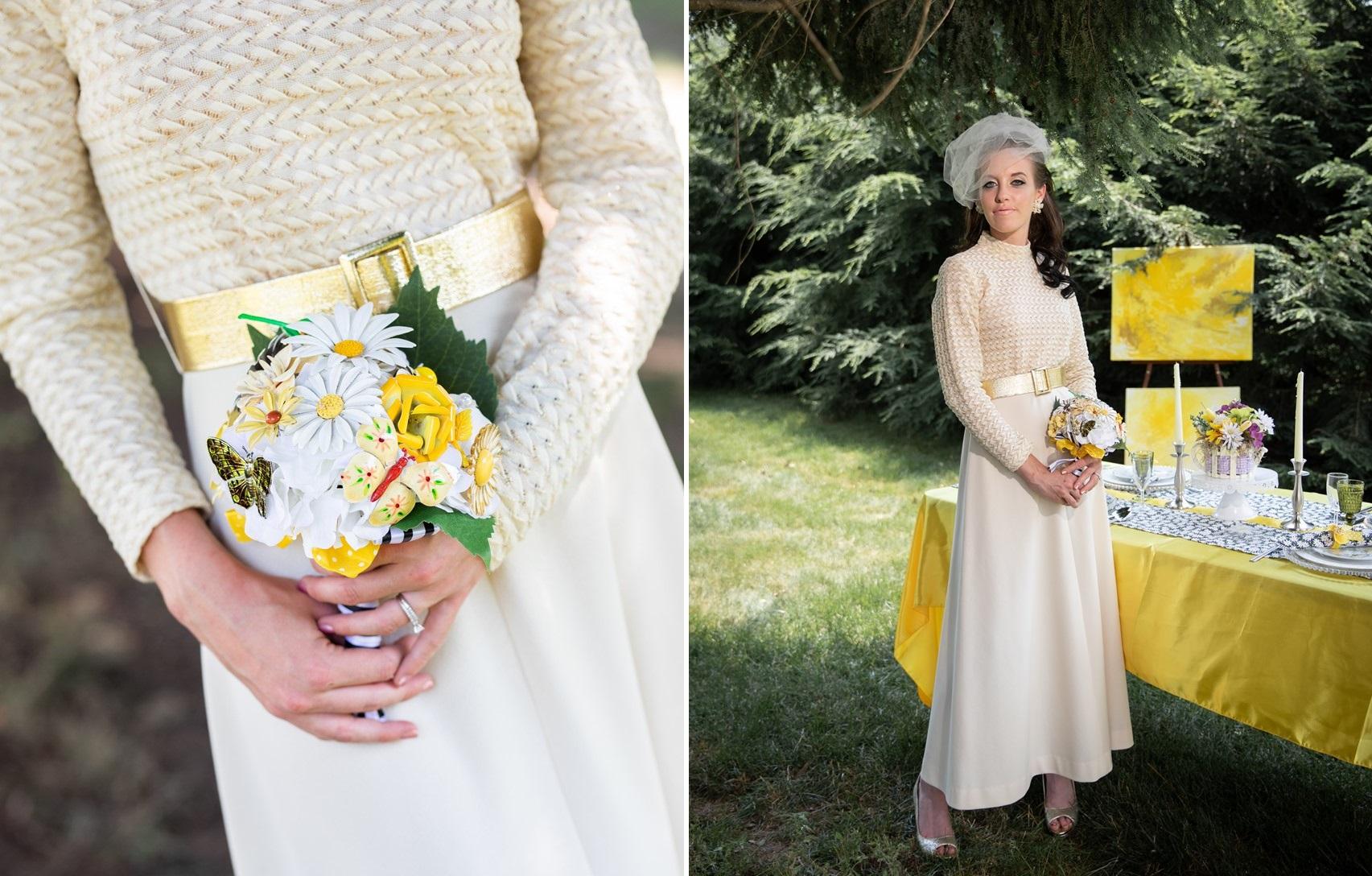 1960s Bride & Bouquet