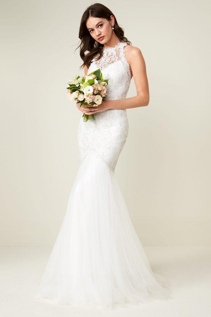 Lace Halter Neck Mermaid Silhouette Wedding Dress Chic Vintage