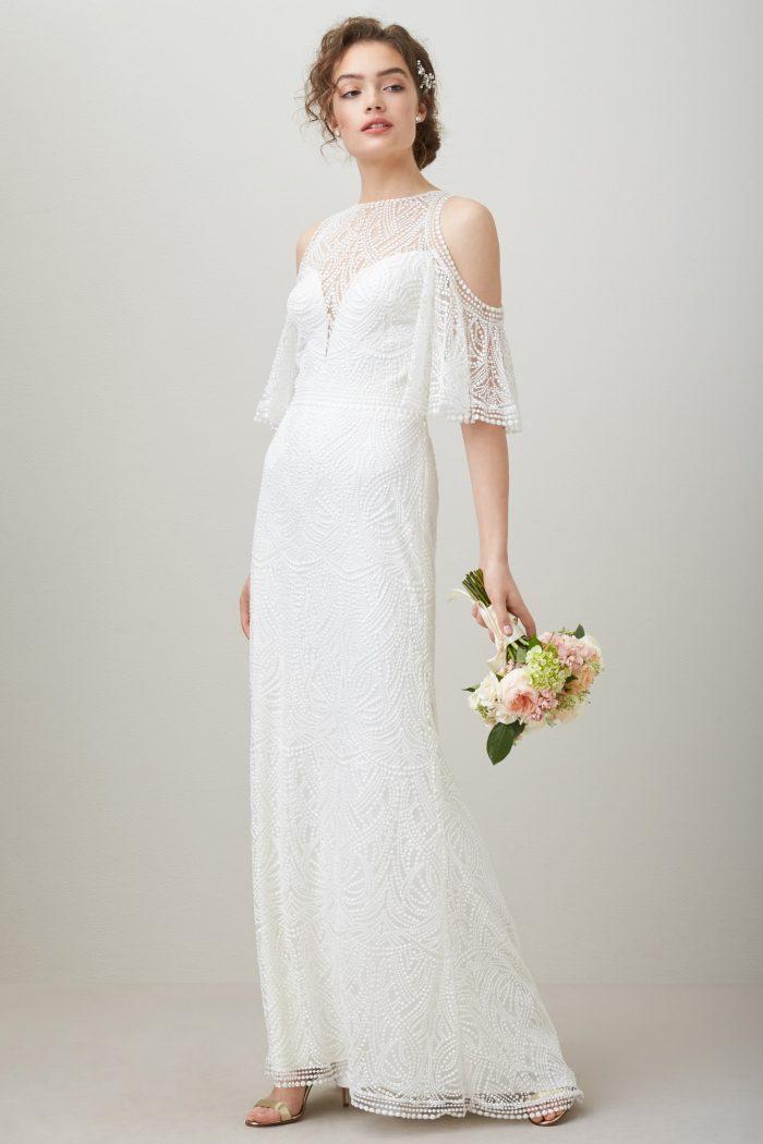 Embroidered Cold Shoulder Mesh Wedding Dress Chic Vintage Brides