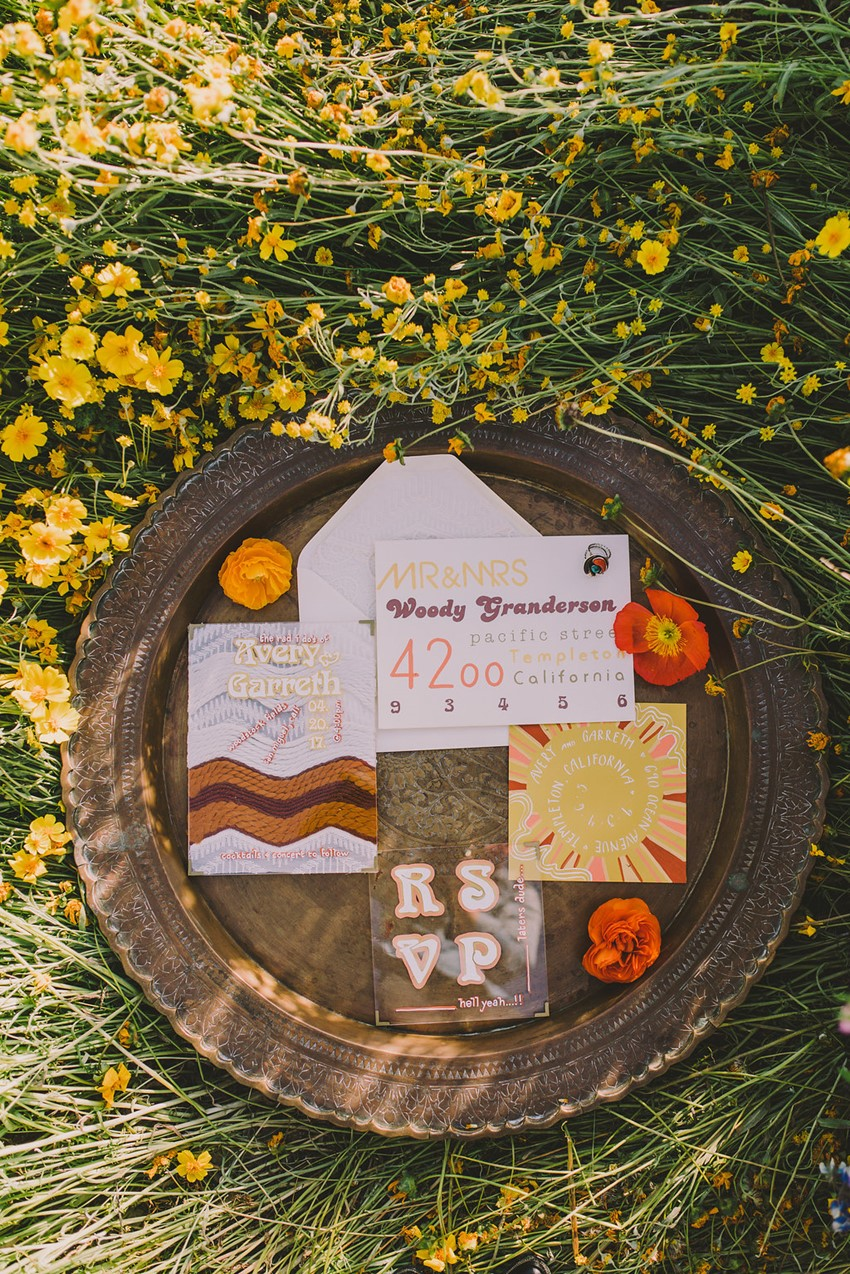 1970s Boho Wedding Stationery