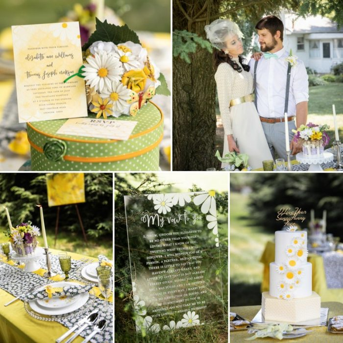 1960s Inspired Summer Daisy Wedding