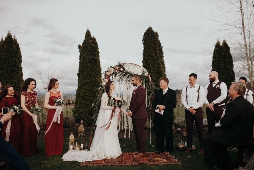 Fall Boho Vintage Wedding Ceremony