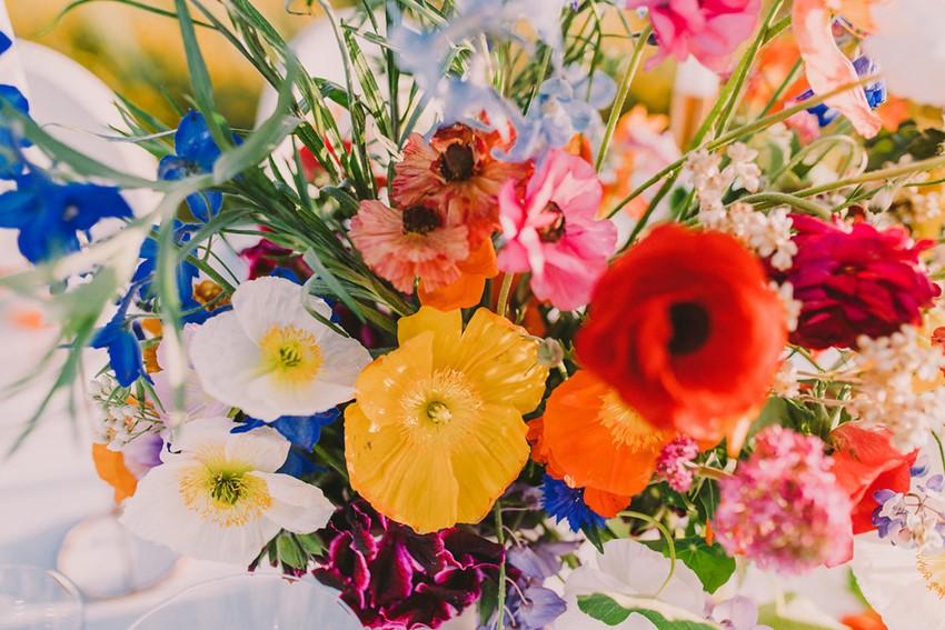 Wild Flowers Bright Wedding Centerpiece