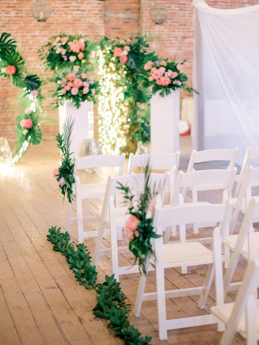 Indoor Tropical Wedding Ceremony