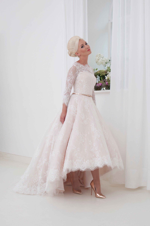 Constance Hi Low Lace Wedding Dress