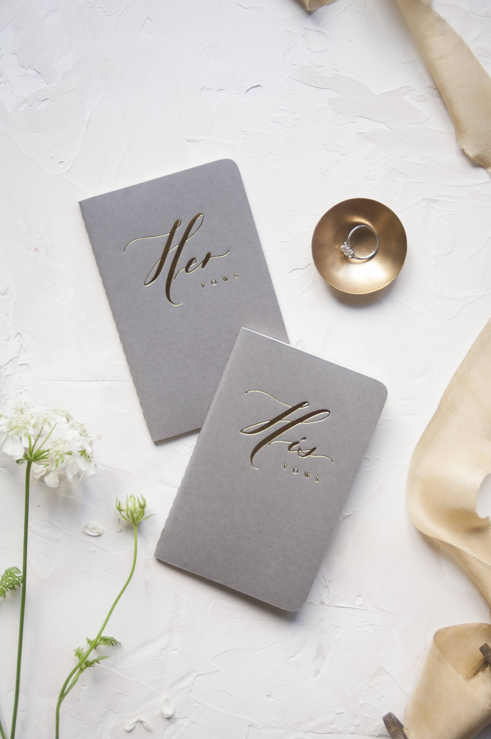 Grey Calligraphy Vow Books