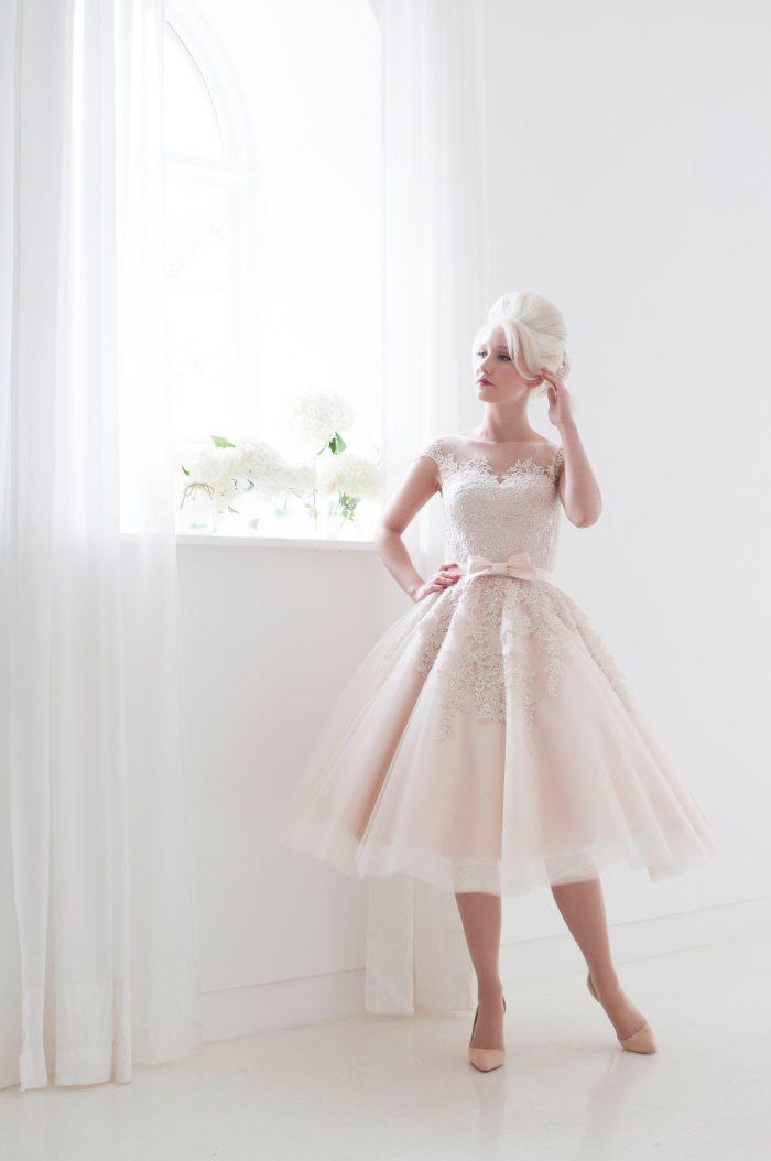 Poppy Blush Tea Length Wedding Dress