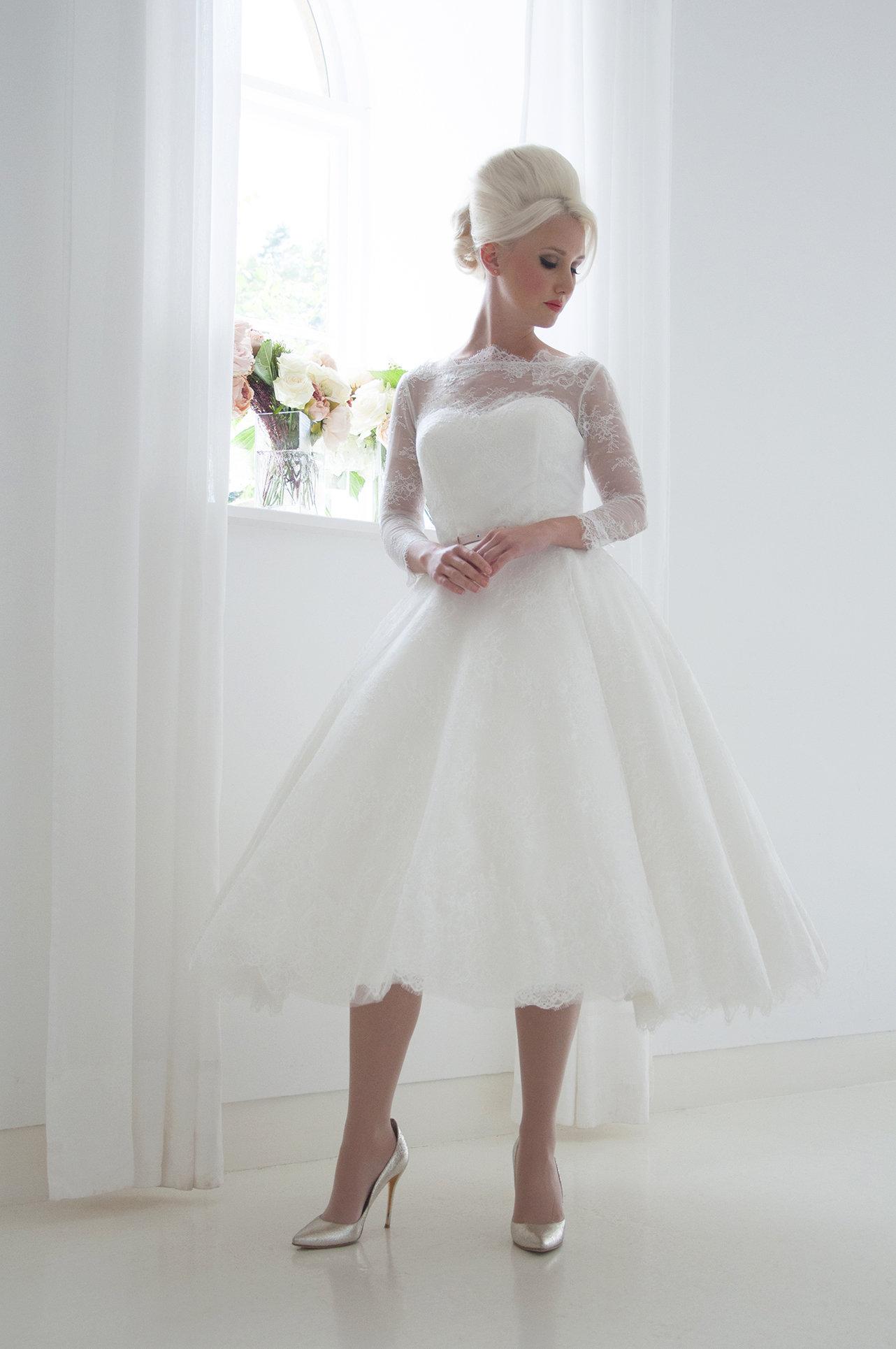 Scarlet Tea Length Long Sleeve Lace Wedding Dress