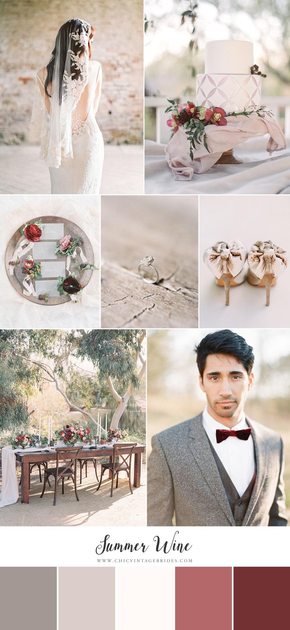 Summer Wine - Neutral & Red Wedding Inspiration Board