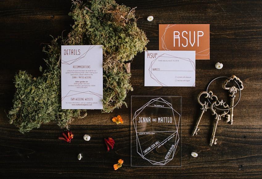 Boho Mid Century Wedding Invitation