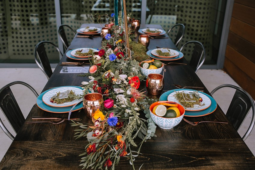 Boho Mid-Century Wedding Table
