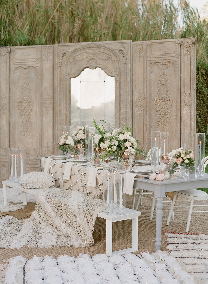 Glam Boho Vintage Wedding Tablescape