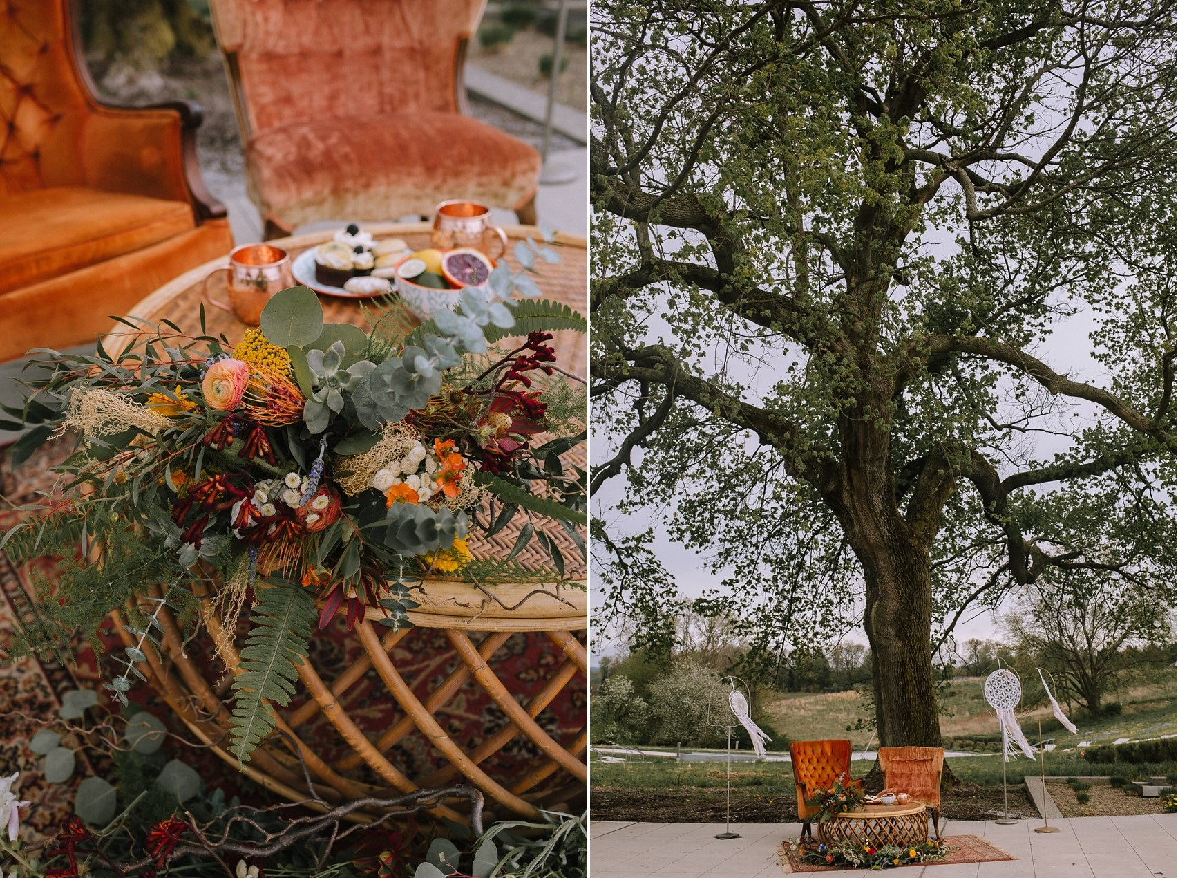 Boho Vintage Fall Wedding Lounge