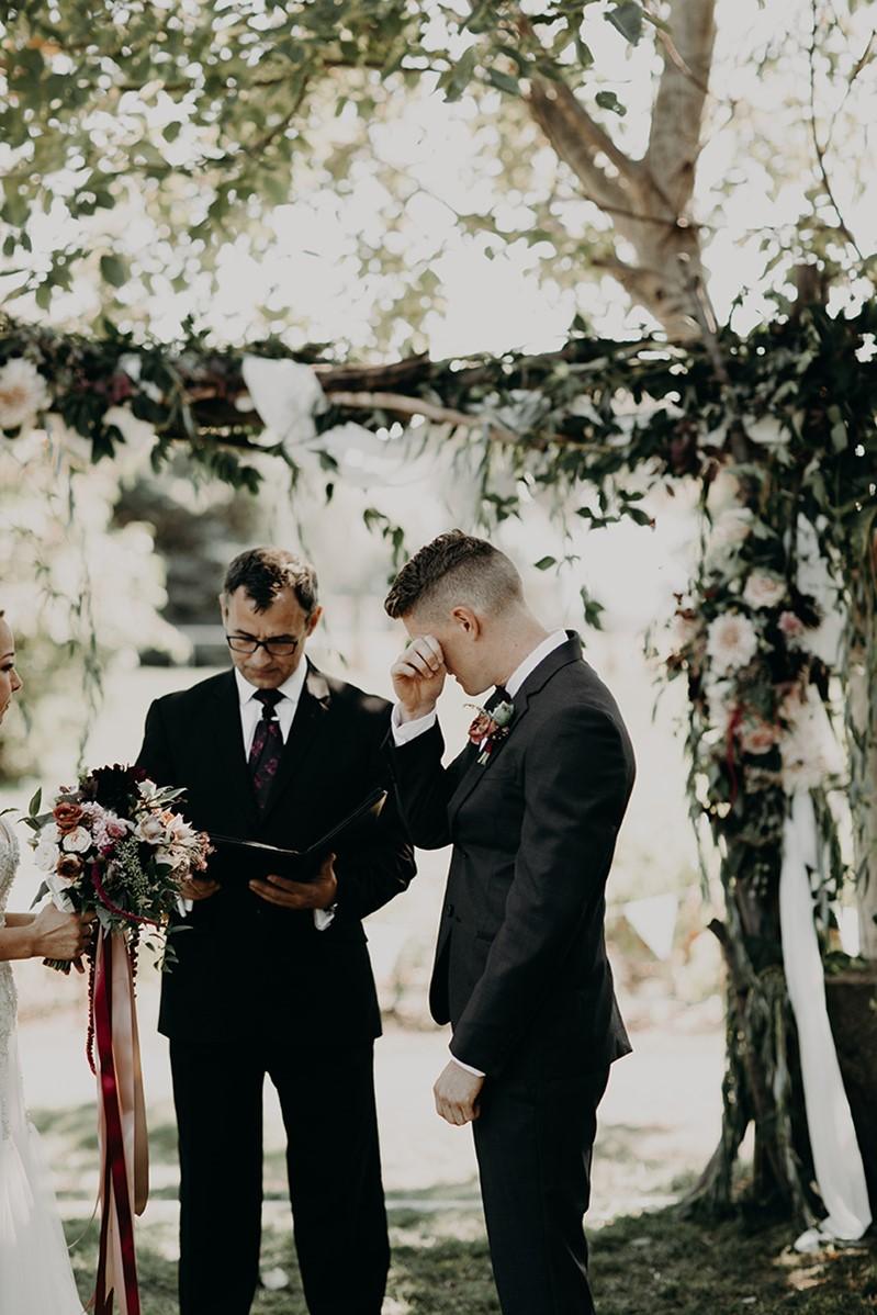 Canada Fall Backyard Wedding Emotional Groom